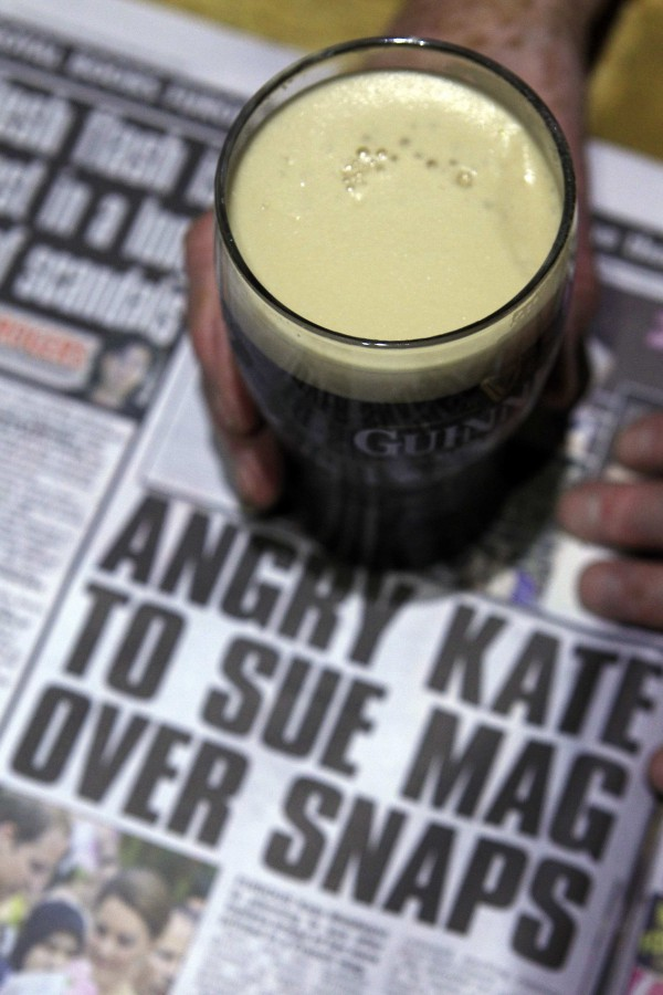 A copy of the Irish Daily Star sits on a table in a pub near Bridgend in County Donegal, September 15, 2012. The Irish tabloid newspaper broke ranks with its British and Irish rivals to publish topless pictures of the wife of Prince William on Saturday, angering its British co-owners and risking legal action from the royal family.