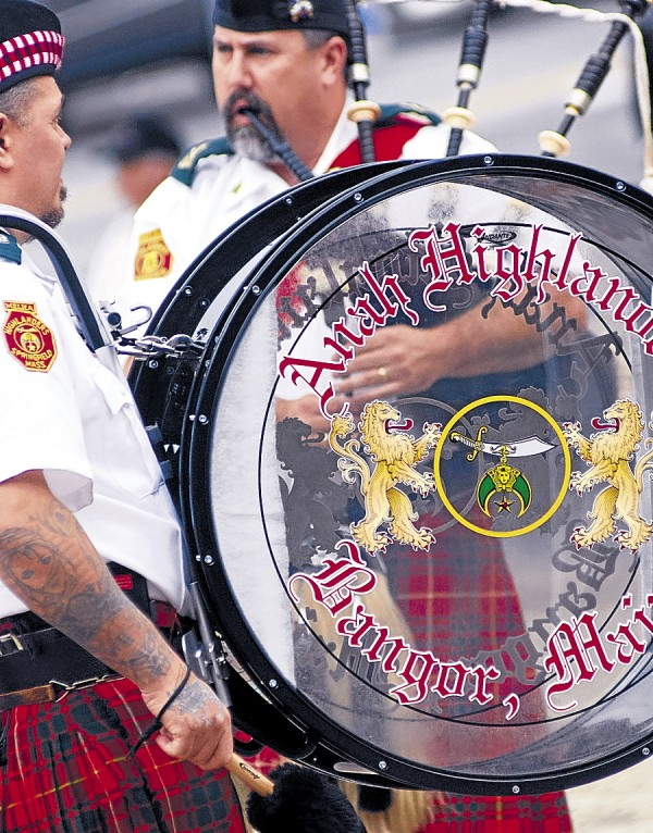 Shrine bagpipe bands performed in downtown Bangor at lunchtime on Saturday, Sept. 15. Among the bands wailing away at the pipes were the Anah Highlanders (above) from Bangor and the Kora Highlanders from Lewiston (next).