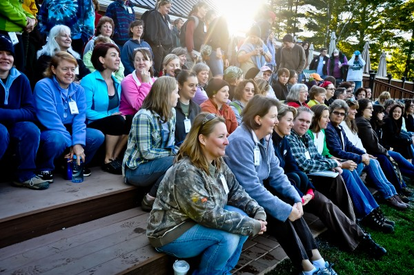 Participants, as well as volunteer instructors and staff, of the 2012 Becoming an Outdoors-Woman in Maine Introductory Skills Workshop pose for a photo at Camp Caribou in Winslow on Sept. 15, 2012. More than 100 women attended the Becoming an Outdoors-Woman Introductory Skills Workshop in Winslow, Maine, Sept. 14-16, 2012.