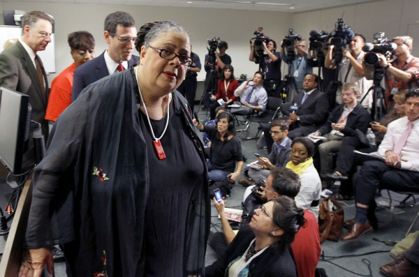 Karen Lewis, president of the Chicago teachers union, departs a news conference after her meeting with the union's House of Delegates Friday, Sept. 14, 2012, in Chicago. Lewis told the delegates that a &quotframework&quot was in place to end the teachers strike.