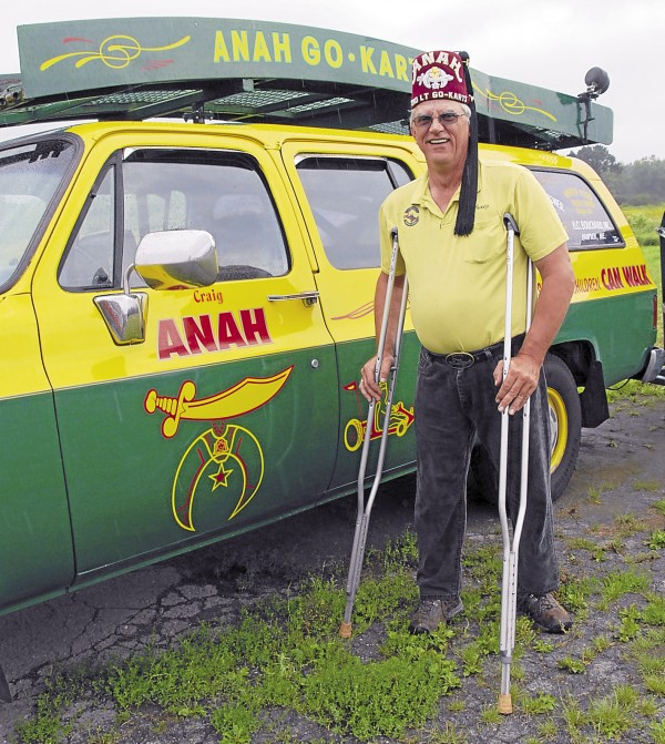 Craig Clifford of Haynesville joined the Anah Shrine in 1994, some 27 years after an initial surgery on his legs at the Shriners Hospital for Children in Springfield, Mass. The Shrine-provided medical care allowed Clifford to walk with crutches rather than be confined to a wheelchair. Today he drives the ramp truck for the Anah Go Karts and manages the Northern Division terminal for Magoon's Transportation and Energy.