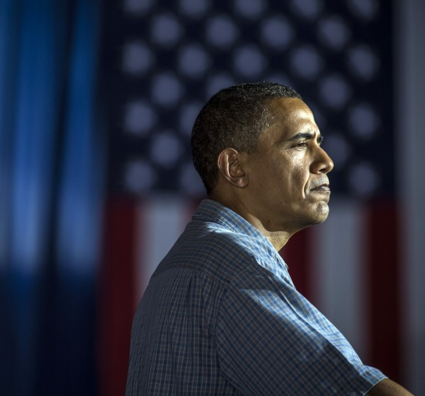 President Obama makes a campaign stop during a three-day bus tour in Iowa in August.