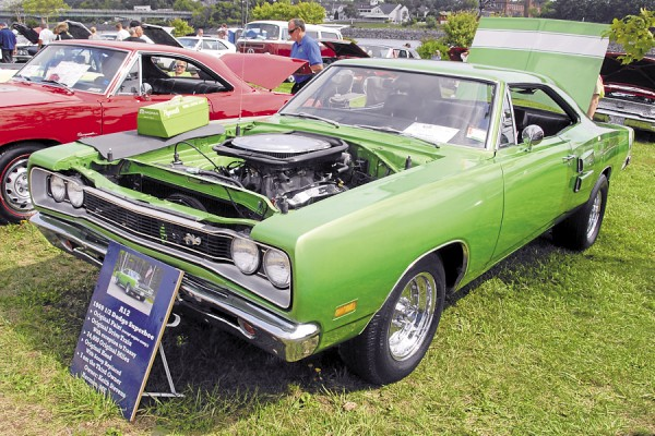 Among the vehicles on display during the Wheels on the Waterfront car show was this 1969½ Dodge Superbee owned by Keith Stevens of Hermon. Except for the engine components, the Superbee sports its original paint and has only 24,000 original miles on its odometer.