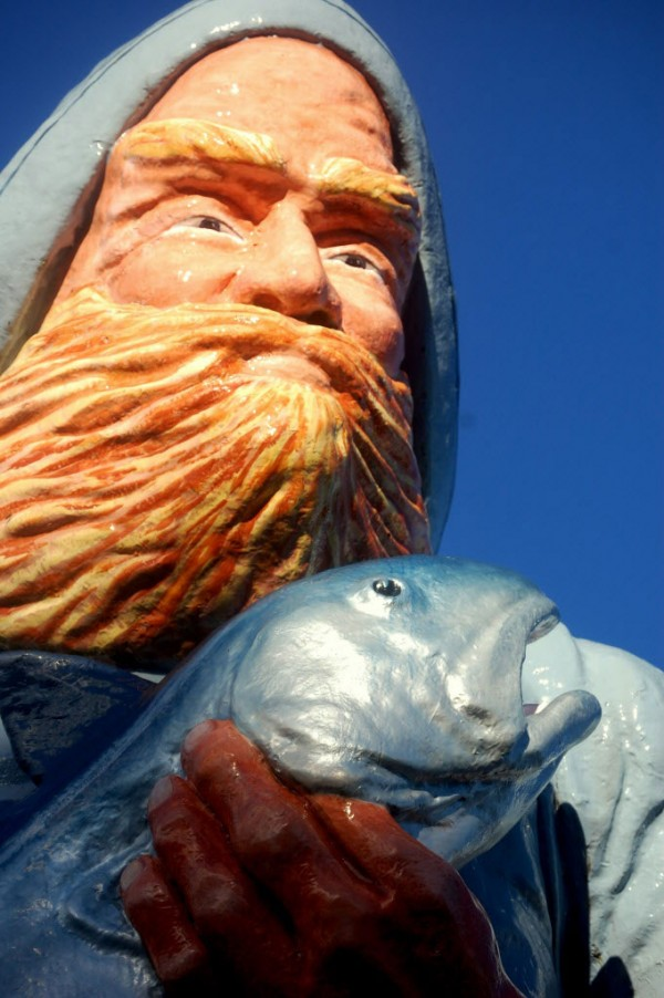 This larger-than-life statue of a fisherman clutching a salmon graces the downtown Eastport waterfront, as much of an iconic landmark as Bangor's Paul Bunyan statue.