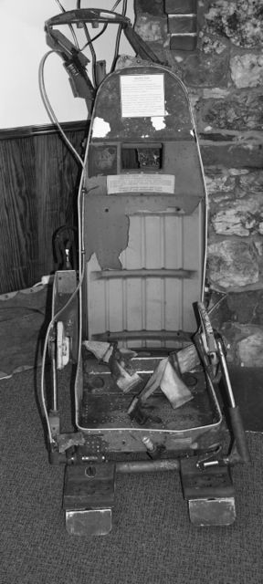The ejection seat probably belonging to B52 Stratofortress pilot Lt. Col. Dante E. Bulli. The seat was recovered this past May and is on display at the Moosehead Lake Aviation Museum. Shelagh Talbot photo