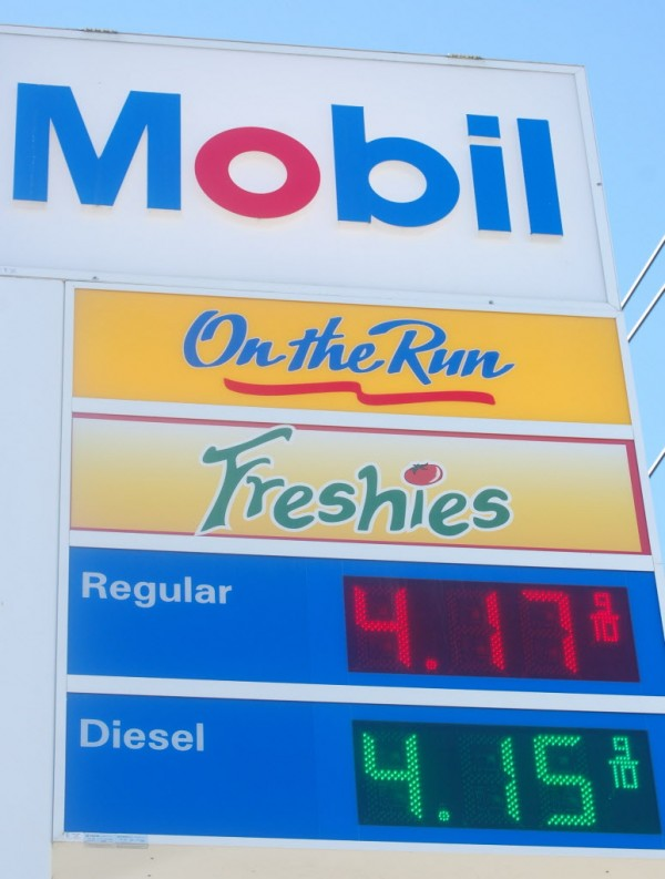 For the first time in a long time, the price of a gallon of gasoline exceeds the price of a gallon of diesel fuel, at least in Maine's Washington County. Regular gasoline hit $4.17.9 at a Mobile station on Main Street in Machias on Tuesday, up more than 10 cents a gallon from a week ago.