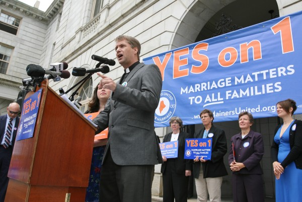 Rev. Michael Gray, a United Methodist pastor in Old Orchard Beach, speaks Monday, Sept. 10, 2012 at a rally outside of City Hall in Portland in support of a ballot question that seeks to legalize same-sex marriage.