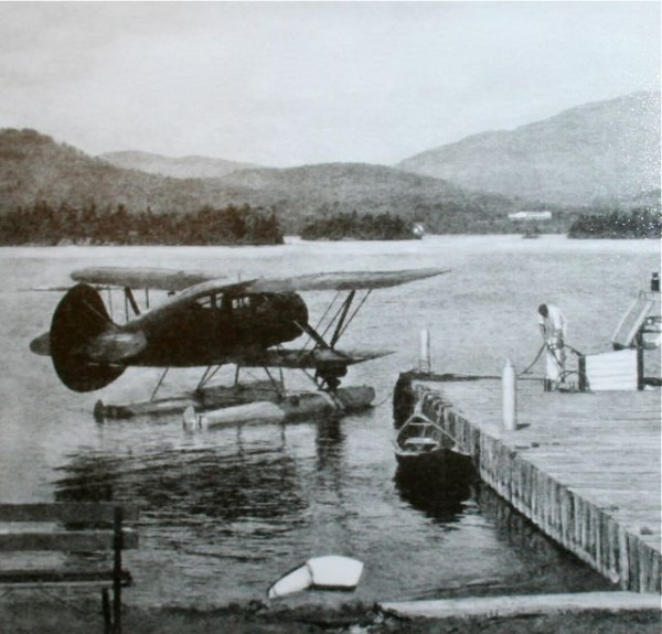 An early floatplane at The Highlands on the eastern side of Moosehead Lake. Photo courtesy of the Moosehead Historical Society and The Moosehead Lake Aviation.