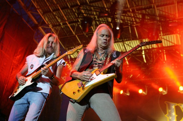 Mark Matejka (left) and Rickey Medlocke (right) of Lynyrd Skynyrd perform Friday Sept. 7, 2012, at Scarborough Downs in Scarborough, Maine.