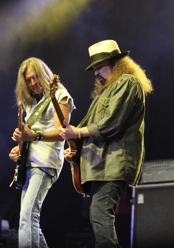 Mark Matejka (left) and Gary Rossington (right) of Lynyrd Skynyrd perform Friday Sept. 7, 2012, at Scarborough Downs in Scarborough, Maine.