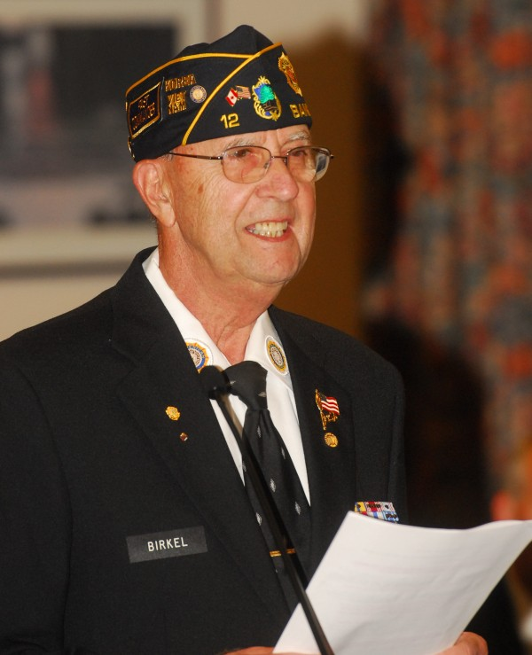 Retired U.S. Air Force Master Sergeant Charlie Birkel addresses the Bangor City Council on behalf of Bangor's American Legion Post No. 12, which was honored by the council Monday night for 92 years of service to the Bangor community.