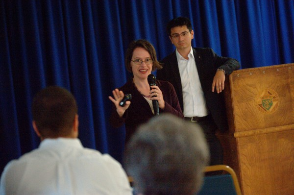 Dr. Angela Franks (left) and her husband, Dr. David Franks, discuss the psychological, social and spiritual impact of marriage on the family unit during their meeting with area Catholics at the Knights of Columbus Hall (Council 2537) in Old Town Sunday morning, Sept. 9, 2012.