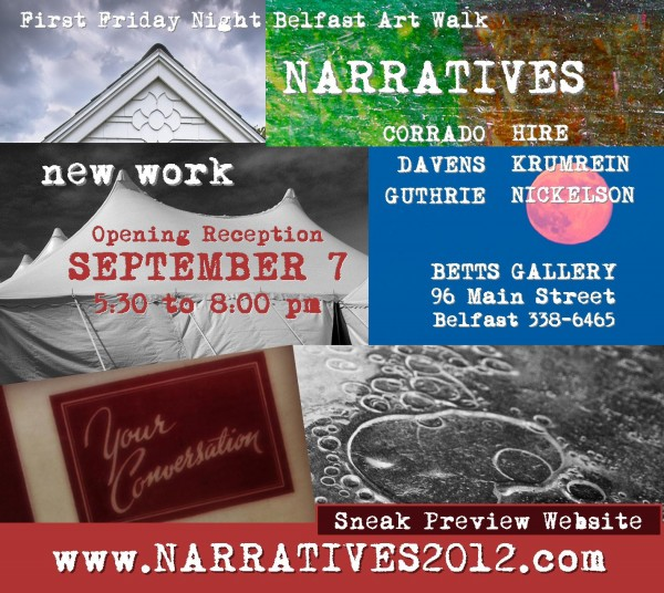 Opening night for Narratives at Betts Gallery