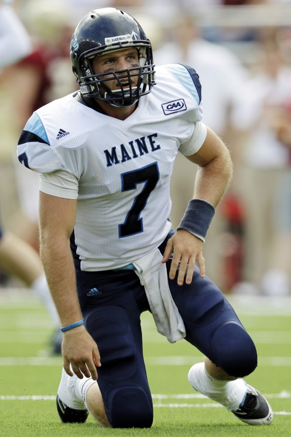 Maine quarterback Marcus Wasilewski (7) reacts after throwing an incomplete pass during an NCAA college football game against Boston College at Alumni Stadium in Boston, Saturday, Sept. 8, 2012.