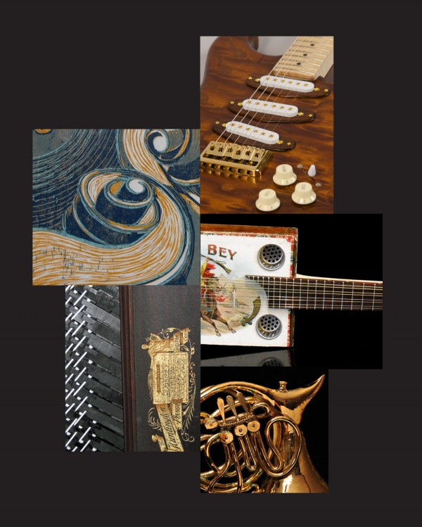 clockwise from top right: Lincoln Clapp, Ash Guitar, Jake Chase, Cigar Box Mandolin, Meryl Ruth, Tea-Sharp, ceramic teapot, Edward MacKenzie, Black White and Light Touch, mixed media, Martha Briana, Musical Moonlight, woodcut