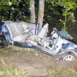 An unidentified woman was injured when her car went off Eddie Kahkonen Road in Norway late Tuesday afternoon and hit some trees. It took rescuers two hours to cut away the car to free her.