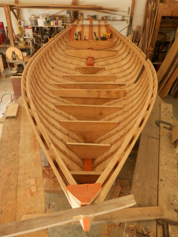 19' daysailer hull with floor timber roughed out and set in place. Richard Stanley and his apprentice Ryan Snow work on the boat one afternoon a week.