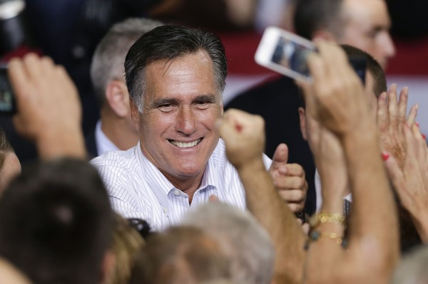 Republican presidential candidate former Massachusetts Gov. Mitt Romney greets supporters after speaking at a rally Friday, Sept. 21, 2012, in Las Vegas.