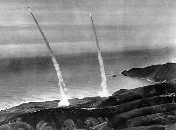 Two minutemen missiles blast off during a 1971 test launch in Calif.