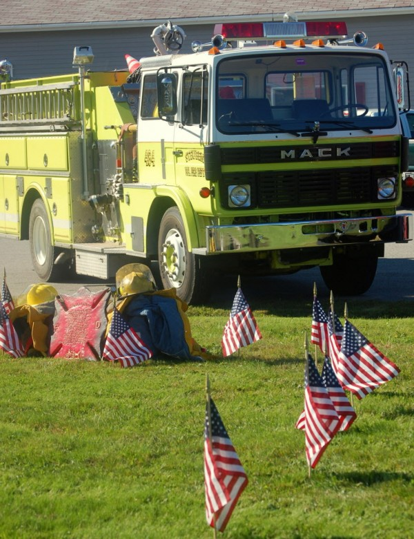 The Steuben Volunteer Fire Department paid tribute Tuesday to firefighters and others who lost their lives in the collapse of the twin towers of New York's World Trade Center on Sept. 11, 2001. American flags throughout much of Maine's Washington County were flying at half-staff on Tuesday  to commemorate the 11th anniversary of the terrorist attacks.