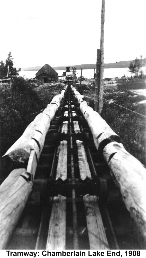 A 100-year-old photo shows the Allagash tramway in full operation complete with the buildings that housed the steam boilers which provided the power to run 6,000-feet of steel cable.