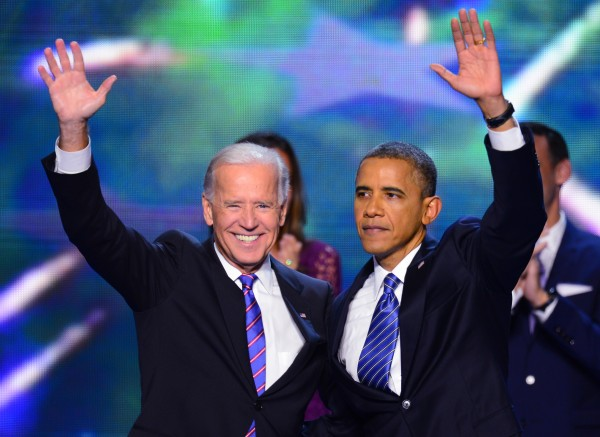Vice President Joe Biden and President Barack Obama wave to the delegation at the 2012 Democratic National Convention in Times Warner Cable Arena Thursday, September 6, 2012 in Charlotte, North Carolina.