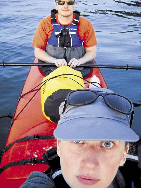 The Weekly's Debra Bell gazes wearily into the camera as she and her husband, Bill, complete their three-hour kayaking excursion on Frenchman Bay.