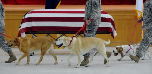 Staff Sgt. Jessica Wing's dogs were brought to her funeral service at the Augusta Armory Saturday afternoon.