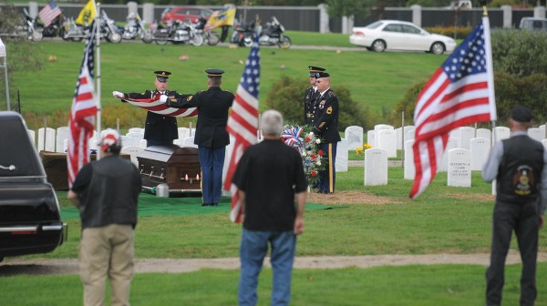 Staff Sgt. Jessica Wing's committal service at the Maine Veterans Memorial Cemetery in Augusta Saturday afternoon.