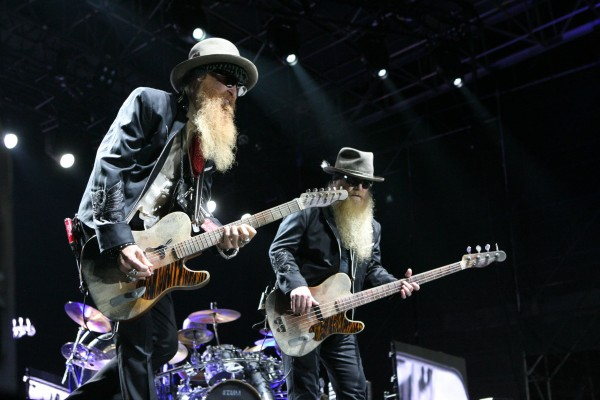 Billy Gibbons (left) and Dusty Hill (right) of ZZ Top perform Friday Sept. 7, 2012, at Scarborough Downs in Scarborough, Maine.