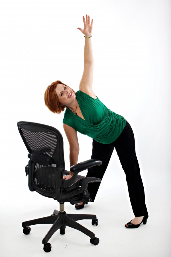 "Centeredbeing co-creator Suzie Carmack shows a ""pinwheel"" pose modified for the office."