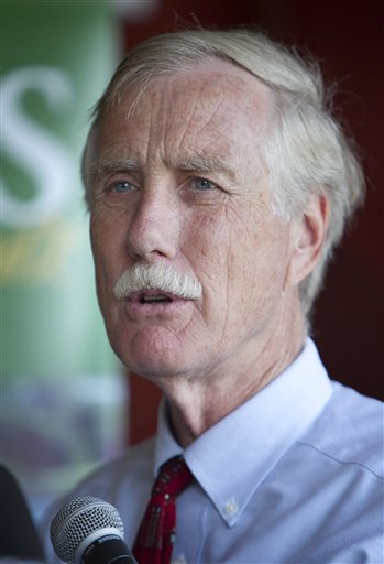 Angus King, independent candidate for U.S. Senate, speaks at a news conference in Brunswick, Maine.