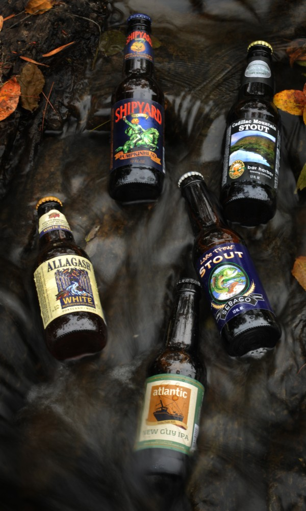 Maine crafted beers photographed in the rushing water of the the Kenduskeag Stream in Bangor on Friday, Sept. 21, 2012. Clockwise from top: Shipyard Brewing Company's Pumpkinhead Ale, Bar Harbor Brewing Company's Cadillac Mountain Stout, Sebago Brewing Company's Lake Trout Stout, Atlantic Brewing Company's New Guy IPA, and Allagash Brewing Company's White.