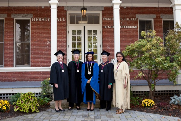 Recipients of the University of New England's Deborah Morton Award were (from left) Susan A. Carlisle of Bangor; Dr. Wendy Wolf, founding president and CEO of the Maine Health Access Foundation; UNE President Danielle Ripich; Donna Lee Litchfield Cheney of Falmouth and former chair and vice chair of Bigelow Laboratory for Ocean Sciences; and Chief Brenda Commander of the Houlton Band of Maliseet Indians.