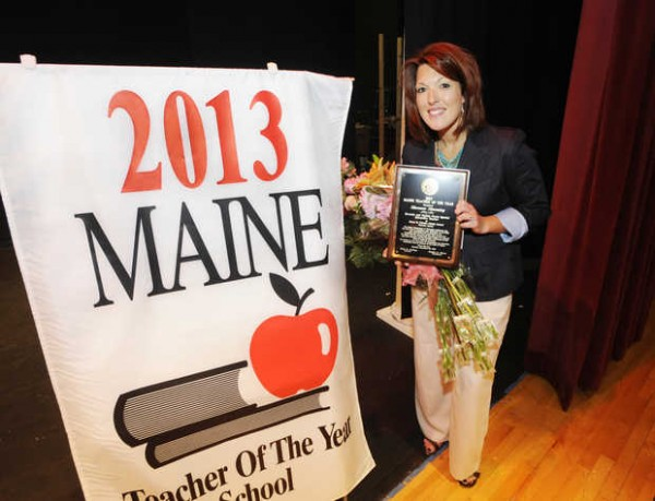 Poland Whittier Middle School teacher Shannon Shanning was named the 2013 Maine Teacher of the Year Monday morning, Sept. 10, 2012 during a surprise assembly. Shanning, 35, is the first special education teacher to win the prestigious award.