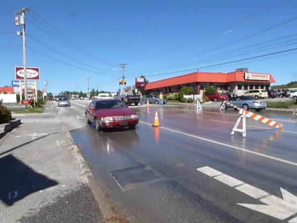 A water main break on Broadway on Sunday, Sept. 16, 2012.