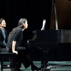 Internationally renowned pianist Ya-Fei Chuang (R) and violinist Teresa Ling (L) performed at last winter's Cohen Concert at Hebron Academy.