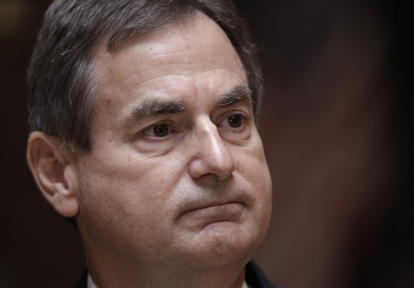 Indiana Republican Senate candidate Richard Mourdock pauses during a news in Indianapolis to explain the comment he made during a Senate debate. Mourdock said that when a woman becomes pregnant during a rape, &quotthat's something God intended.&quot