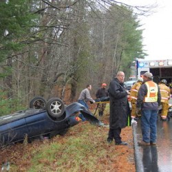 Rumford boy hospitalized after mom drives into swamp