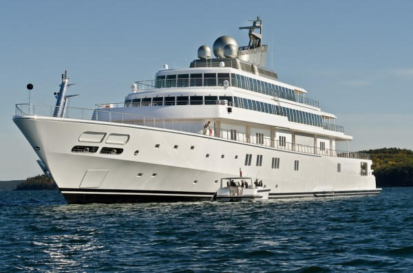 Rising Sun, a 454-foot long yacht owned by billionaire David Geffen, sits anchored in Frenchman Bay off Bar Harbor on Oct. 17, 2012.