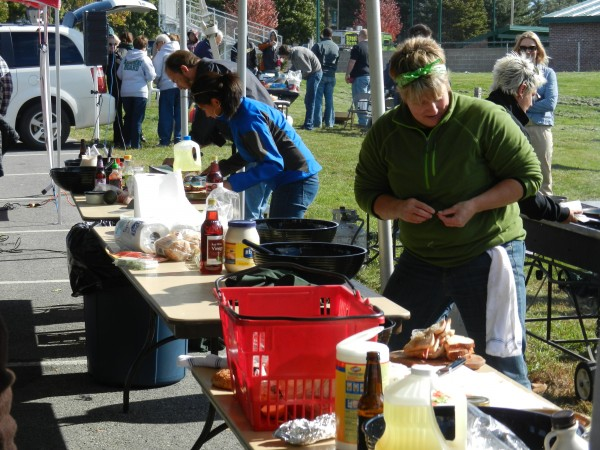Husson University hosted its first Top Chef Tailgate Cook-off as part of the weekend's Homecoming activities on Saturday afternoon. Kim Smith (right) was the eventual winner.
