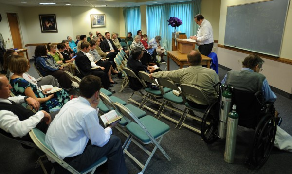 Members of The Church Jesus Christ of Latter-day Saints of Bangor hold a Sunday school class on Sept. 30, 2012. Members have mixed thoughts on Mitt Romney as a presidential candidate.