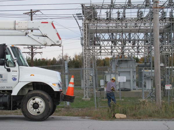 A Bangor Hydro technician arrives just before noon on Sunday, Oct. 7, 2012, at the Hancock Substation on Downeast Highway in Hancock. Much of Ellsworth's business district was rendered powerless Sunday morning. One witness said she saw a large explosion at the substation.