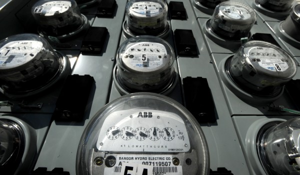 Bangor Hydro-Electric Co. meters are seen outside an apartment building in Bangor in 2011.