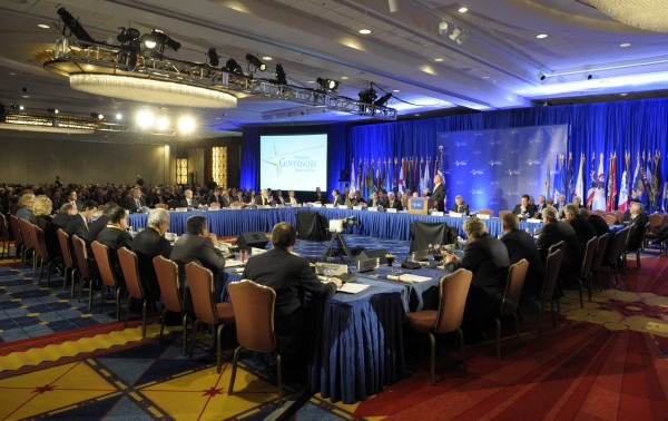 U.S. Governors participate in the opening session of the National Governors Association winter meeting in Washington in February.