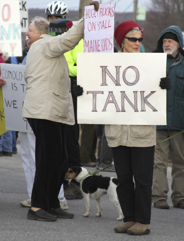 Judy Kaiser, 70, of Waldo, stands in the cold in November 2011 in Searsport to protest a plan to build a large propane storage tank in town.
