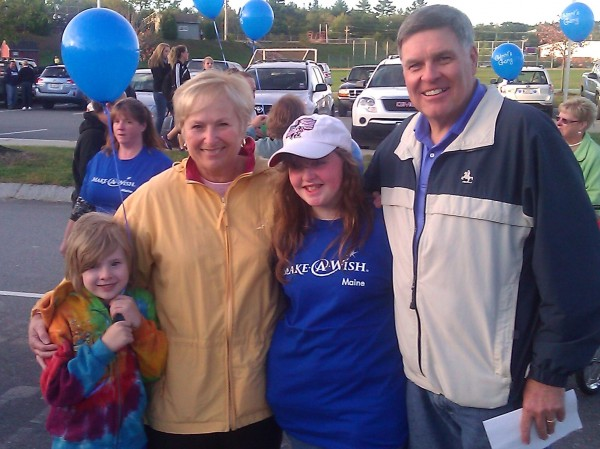 Ellsworth Walk For Wishes organizer and volunteer Ron Hamilton stands with his wife, Joanne, also a Make-A-Wish volunteer, and past wish recipient Sherri Hill and her brother Daniel of Surry. Sherri went to Walt Disney World in October 2007 for her wish, and has attended the Ellsworth walk each year with her family.