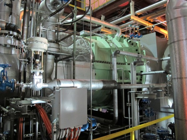 The new Siemens 25-megawatt condensing, single-casing turbine recently installed at Verso Paper in Bucksport.