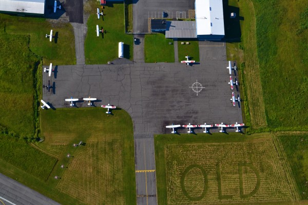 Aerial view of the Civil Air Patrol airplanes on the main ramp at Dewitt Field, Old Town Municipal Airport early Sunday morning, July 8, 2012.