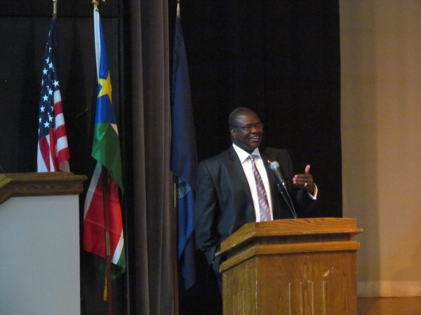 Vice President Riek Machar of the Republic of South Sudan addresses a crowd of Sudanese-Americans on Saturday, October 20, 2012, at Portland High School. Machar's trip to Maine was part of a multi-venue outreach effort he's undertaking in the United States.